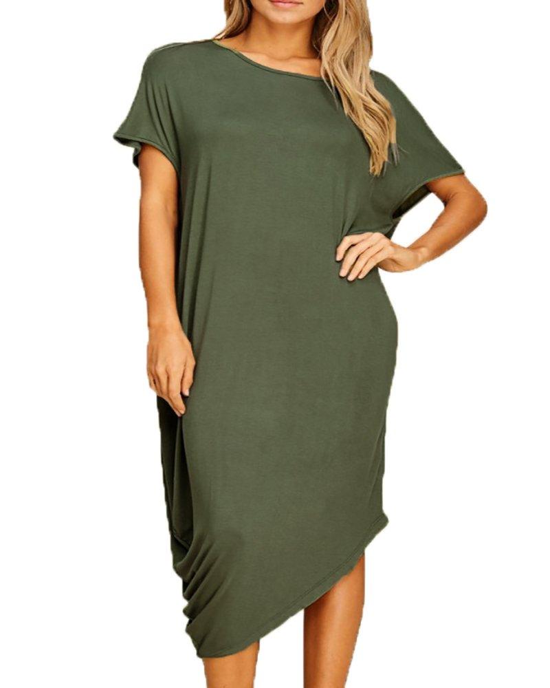 41aebfc58e2 Ofenbuy Womens Plus Size Summer Dresses Short Sleeve Boat Neck Loose Casual  Midi Dress
