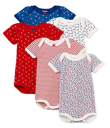 Petit Bateau Baby Girl's Short-Sleeved Bodysuit - Set of 5 Gift Boxes Sizes 3-36/M Style 47950 (Size 18 Month Style 47950 Girls)
