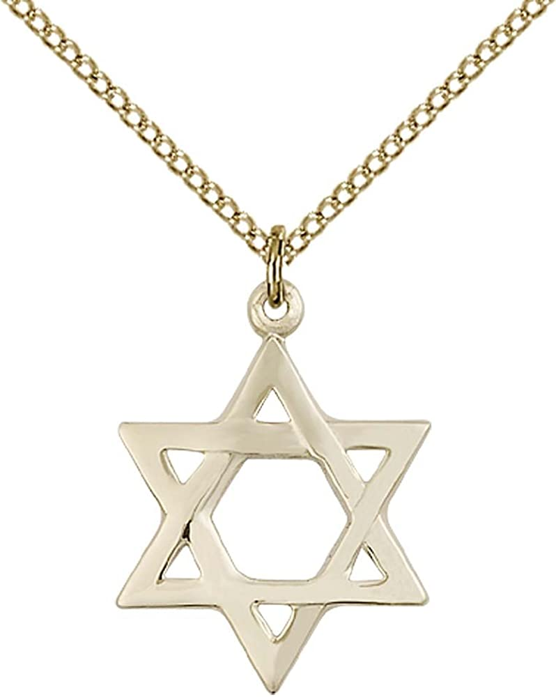 14kt Gold Filled Star of David Pendant with 18 Gold Filled Lite Curb Chain.