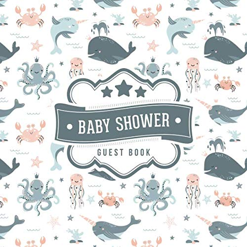 Baby Shower Guest Book: Nautical Narwhal Whale Pattern   + BONUS Gift Tracker Log   Keepsake Guestbook   Advice Wishes and Predictions (Narwhal Baby Shower)