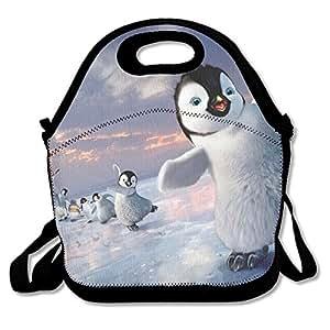 Impresionante pingüino impermeable reutilizable neopreno bolsa de viaje Picnic almuerzo Bolsa con correa de hombro ajustable para hombres mujeres adultos niños TODDLER enfermeras