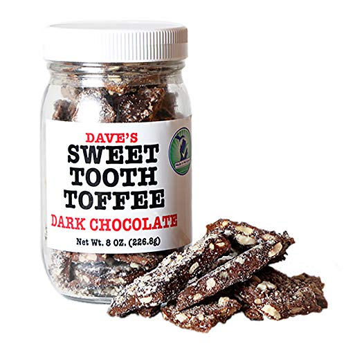Dave's Sweet Tooth Toffee, Dark Chocolate Flavor with Real Butter, Real Sugar, and Hand-sliced Almonds, Handmade, Homemade, Naturally Gluten-Free, Ships with Cool Packs, 8.0 oz Resealable Jar
