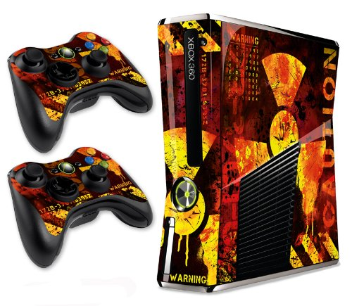 Designer Skin for Xbox 360 Slim and Two Controllers - Meltdown