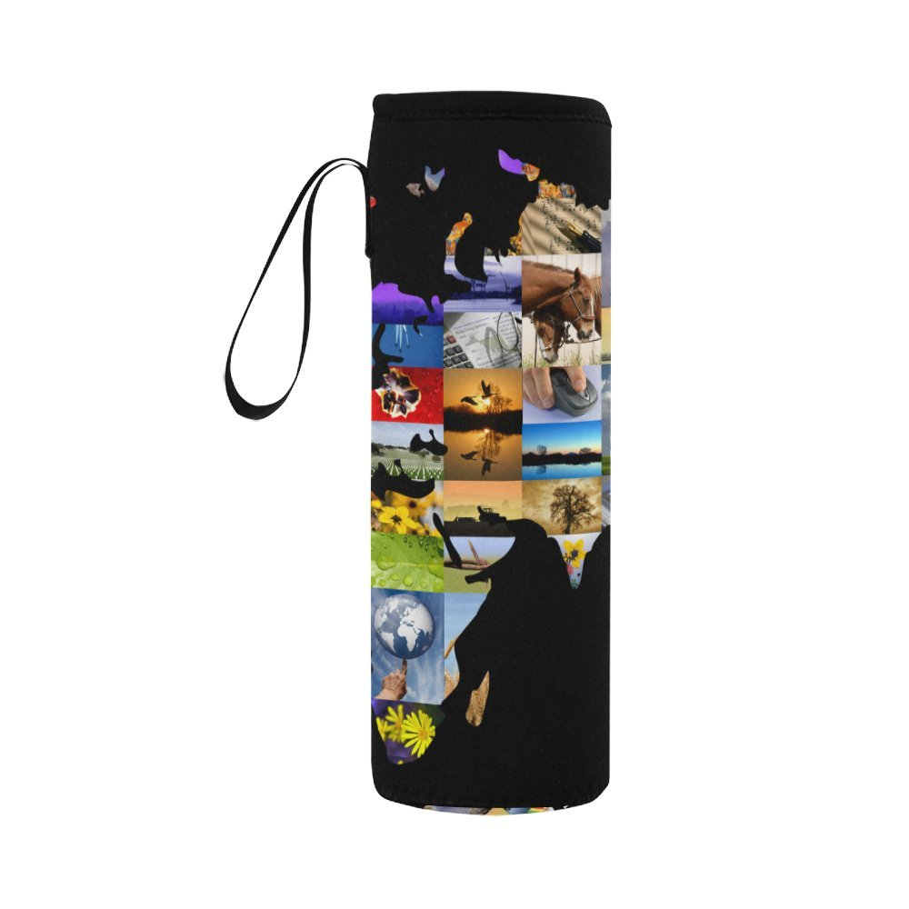 InterestPrint World Map Photographs Neoprene Water Bottle Sleeve Insulated Holder Bag 16.90oz-21.12oz, Animal Scenery Sport Outdoor Protable Cooler Carrier Case Pouch Cover with Handle