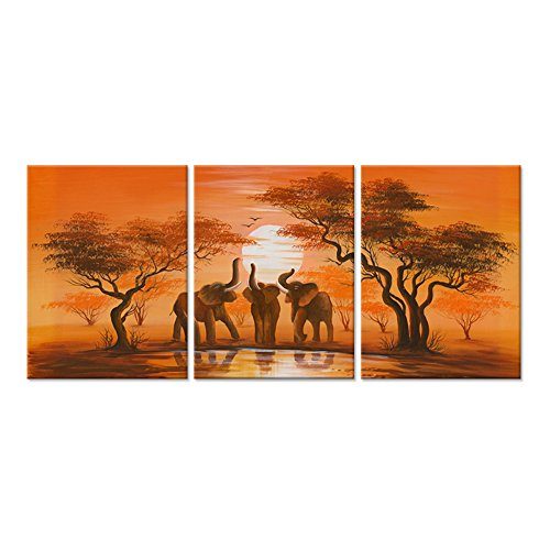 "Hello Artwork - Modern Canvas Wall Art African Forest Sunset Elephant Family Around Lake Landscape Oil Painting Print On Canvas Framed and Stretched For Living Room Home Decor (12""x16\""x3PCS)"