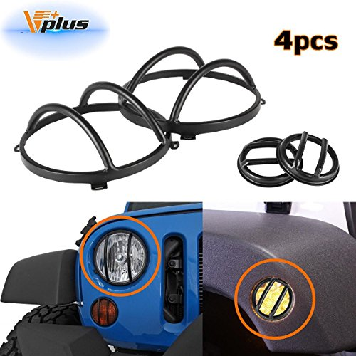 Vplus Black Stainless Steel Guard Covers Kit Front 7inch Headlight & Side Fender Marker Lights Protectors Compatible with Jeep Wrangler JK Rubicon Sahara Sport 2/4 Door 2007-2016(4PCS/Set)