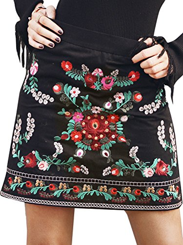 (Simplee Women's Vintage Floral Embroidery High Waisted Bodycon Mini Skirt Black 0/2)