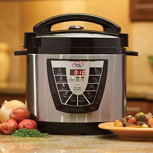 Power Pressure Cooker XL 8 Quart, Digital Non Stick Stainless Steel Steam Slow Cooker and Canner ()
