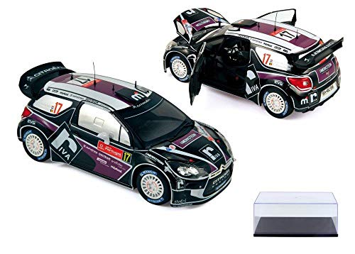Norev Diecast Car & Display Case Package - Citroen DS3 WRC Race Car #17 Merksteijn Jr/Chevailler - Rallye du Portugal 2012 181559 - 1/18 Scale Diecast Model Toy Car w/Display Case ()