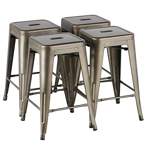 24 Inch Bar - Yaheetech 24inch Metal Bar Stools Counter Height Barstools Set of 4 High Backless Industrial Stackable Metal Chairs Indoor/Outdoor, Gun Metal
