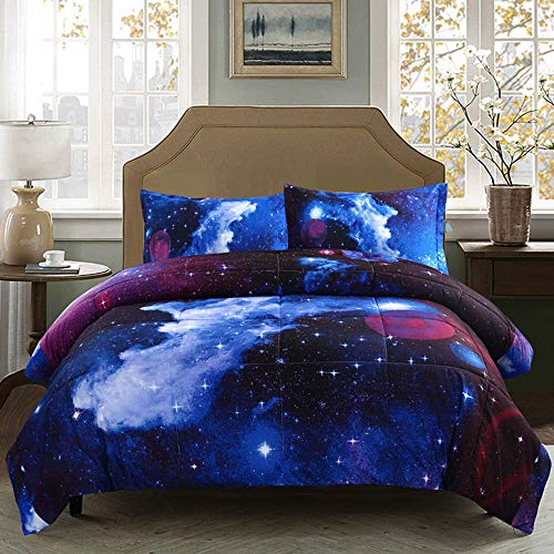 Juwenin bedding, Galaxy Down Alternative 3 Pieces Comforter set With 2 Matching Pillow Covers All Season, Fluffy, Warm, Soft & Hypoallergenic (Twin, xk012)