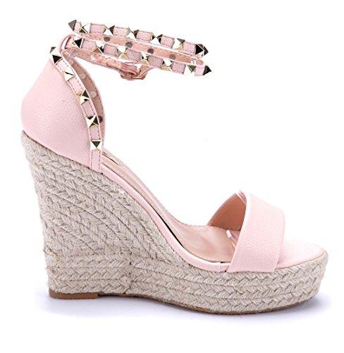 Schuhtempel24 Damen Schuhe Keilsandaletten Sandalen Sandaletten Keilabsatz Nieten 12 cm High Heels Rosa