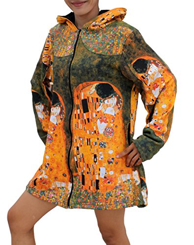 RaanPahMuang Gustav Klimt The Kiss Patch Long Ladies Hood Jacket, X-Large