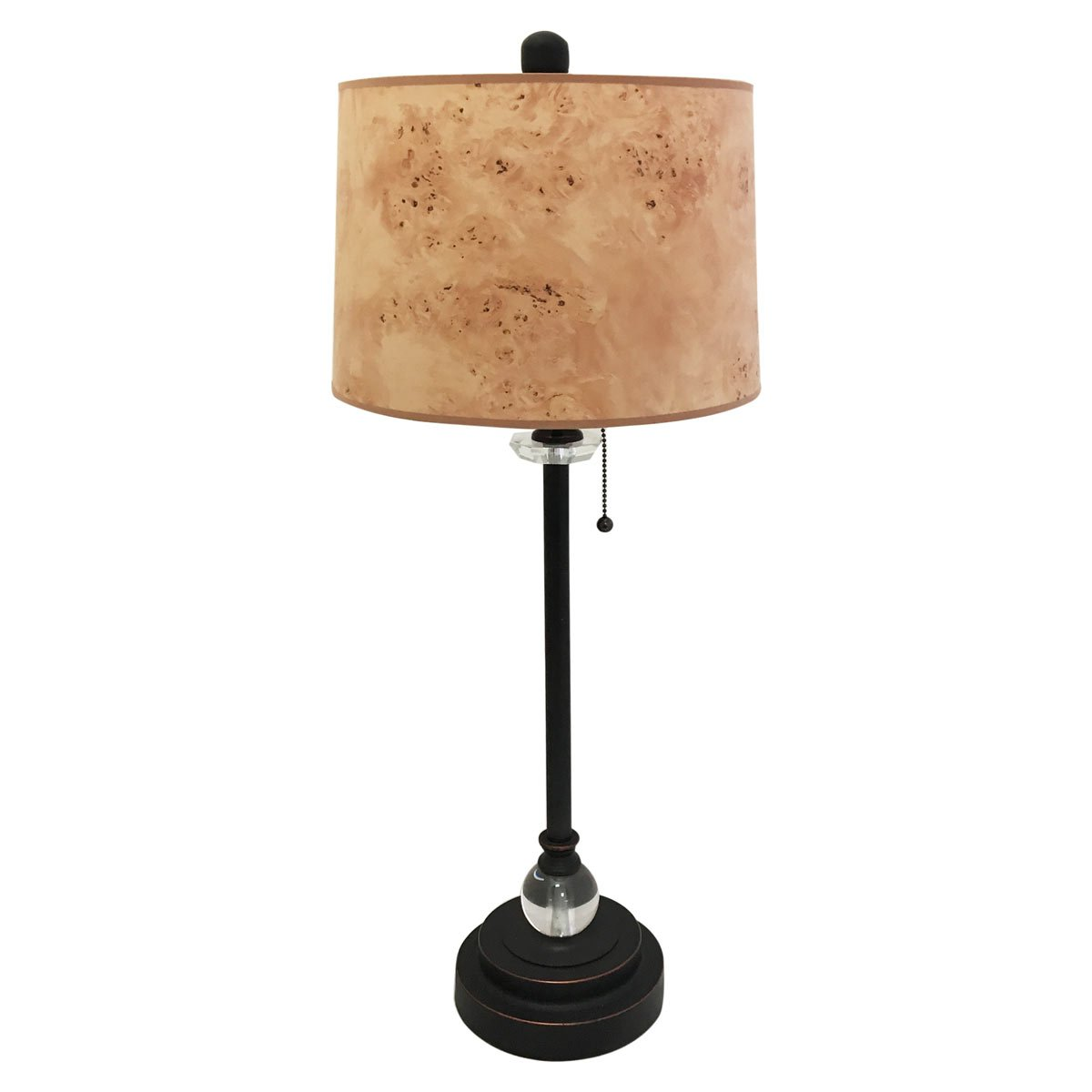 Royal Designs 28'' Crystal and Oil Rub Bronze Buffet Lamp with Light Brown Wood Texture Hardback Lamp Shade