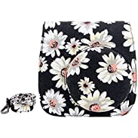 Elvam Black Flower Floral Cotton Canvas Fujifilm Instax Mini 9 / Mini 8 / Mini 8+ Instant Film Camera Case Bag w/ a Removable Bag Strap