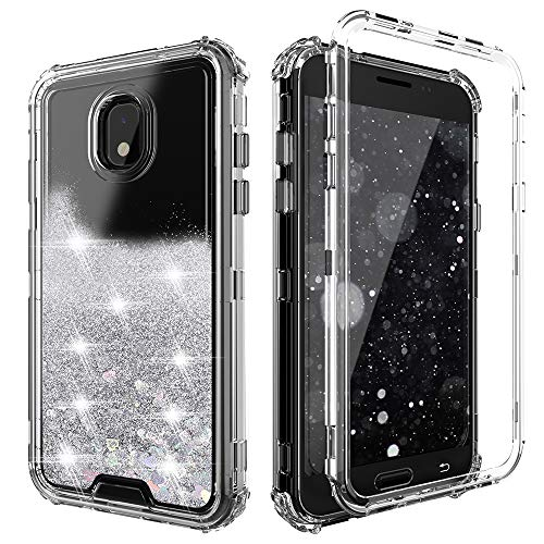 QQcase Galaxy J7 2018 Case,Three Layer Clear Glitter Sparkle 3D Flowing Liquid Heavy Duty Shockproof Protective Case for Samsung J7 Refine/J7 Star/J7 TOP/J7 V 2nd Gen 2018/J7 Aero/J7 Aura-Silver (Print Top Glitter)