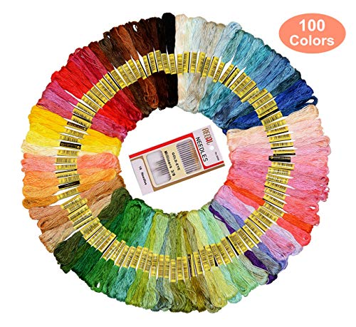 Premium Rainbow Color Embroidery Floss,  100 Skeins Cross Stitch Threads Friendship Bracelets Floss Crafts Floss and Free Set of 16 Embroidery ()