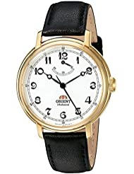 Orient Mens Monarch Mechanical Hand Wind Stainless Steel and Leather Dress Watch, Color:Black (Model: FDD03001W0)