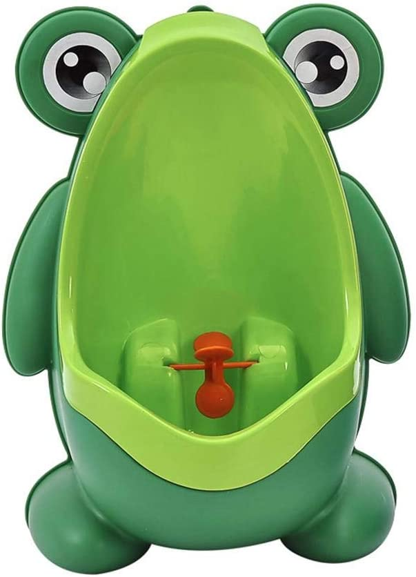 Children Kids Potty Training Urinals for Boys Removable Toilet Pee Trainer Bathroom with Funny Aiming Target Green//Blue WCS Cute Frog Shape Urinal