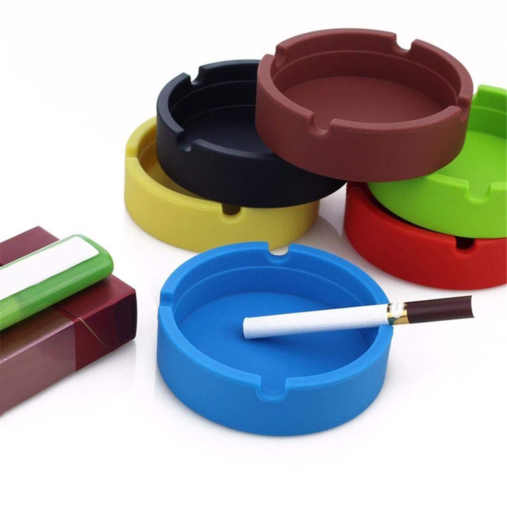 colore nero posacenere di forma rotonda facile da lavare tolleranza alle alte temperature Haodou in gel di silice 8,3 cm x 8,3 cm x 2,3 cm
