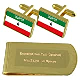 Somaliland Flag Gold-tone Cufflinks Money Clip Engraved Gift Set
