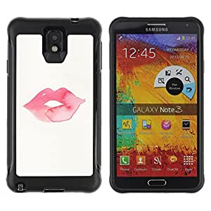 All-Round Hybrid Rubber Case Hard Cover Protective Accessory Compatible with SAMSUNG GALAXY NOTE 3 - minimalist kiss lips pink
