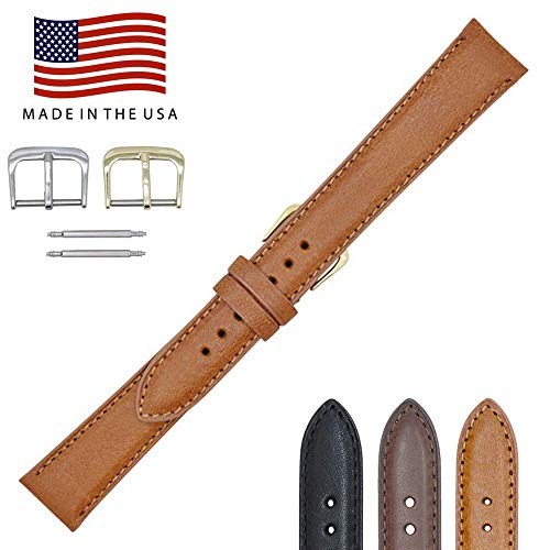 a Genuine Leather Watch Band Strap - Padded Stitched – American Factory Direct - Gold & Silver Buckles Included – Made in USA by Real Leather Creations FBA954 ()