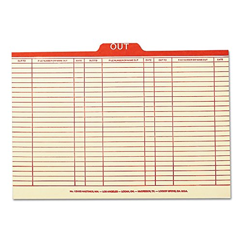 (Smead 53910 Charge-Out Record Guides, 1/5, Red