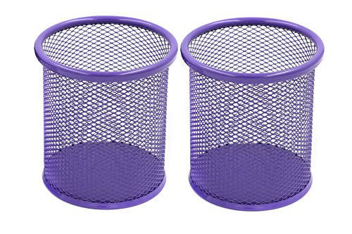 EasyPAG 2 Pcs 3.5 inch Round Mesh Steel Pencil Holder, Purple