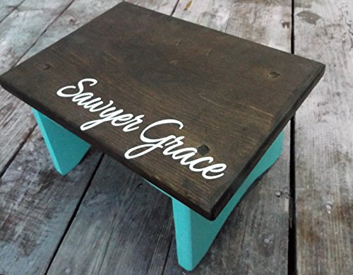 Personalized step stool, toddler step stool, aqua color and dark walnut stain with name