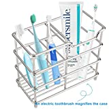 I&HE Premium Bathroom Toothbrush Holder 5 Slots Stainless Steel Bathroom Toothbrush Organizer - Multi-Function StandStorage Rack for Electric Toothbrush, Toothbrush, Toothpaste, Vanity,Countertops