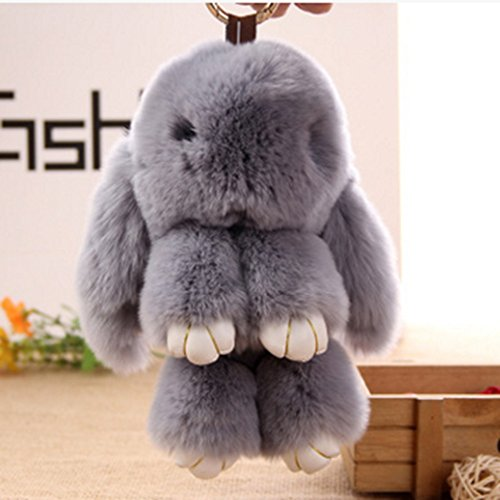 Rabbit Fur Bag Keychain Key Ring Pendant Pom Doll Ball Pendant for Handbag Tote Bag (Alloy Loose Ball)