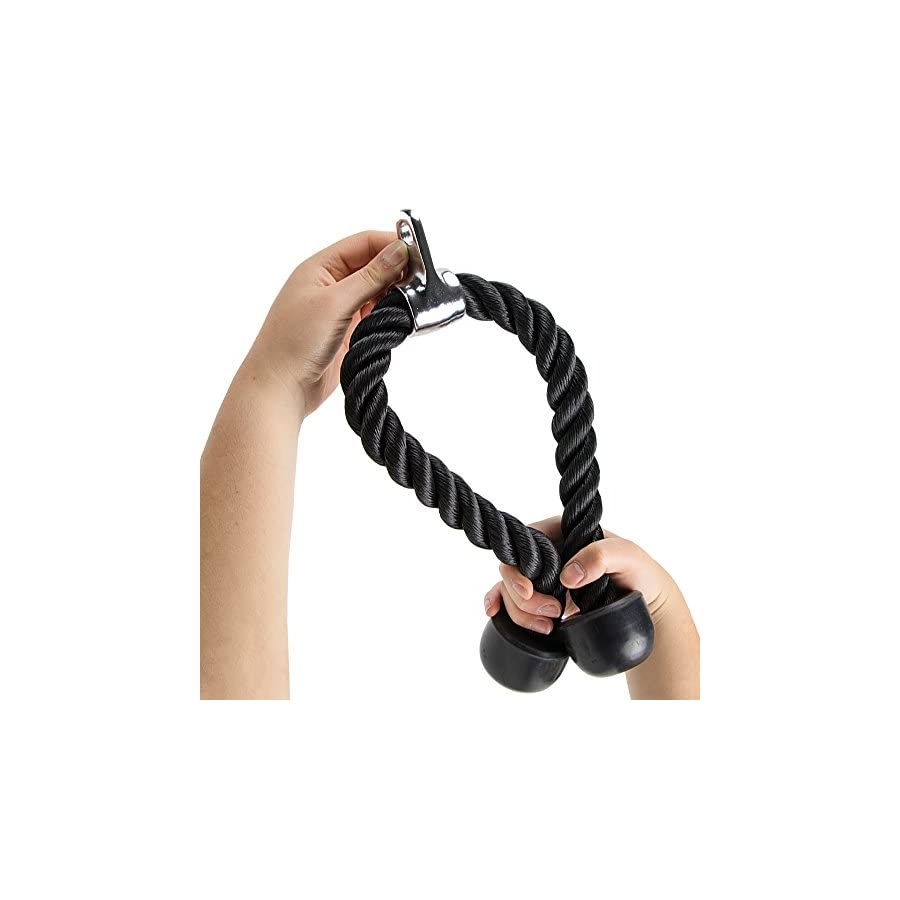Dual Grip Tricep Rope with Universal Cable Machine Attachment by Crown Sporting Goods