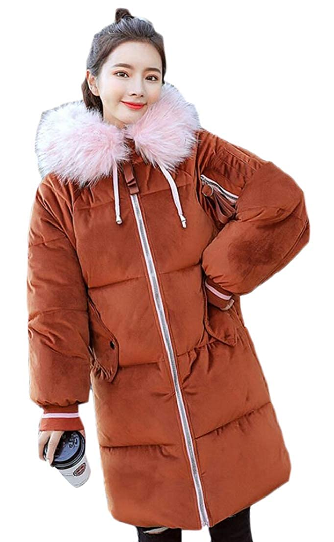 2 omniscient Women Hooded Thick Down Jacket Warm Casual Faux Fur Puffer Coats