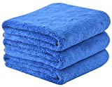 dry car wash towel - KinHwa Microfiber Car Drying Towels Super Absorbent Large Car Wash Towels Scratch Free Car Cleaning Towels Ultra Soft Auto Detailing Towels 380gsm 16Inch x 24Inch 3 Pack Blue