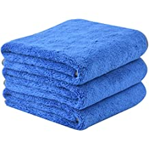 KinHwa Microfiber Car Drying Towels Super Absorbent Large Car Wash Towels Scratch Free Car Cleaning Towels Ultra Soft Auto Detailing Towels 380gsm 16Inch x 24Inch 3 Pack Blue