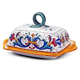 MICHELANGELO Ceramic Handpainted Italy Art & Crafts Pottery - Butter Dish, Ricco Deruta decoration, in Ceramic 20x12.5 H11 cm (BLUE)