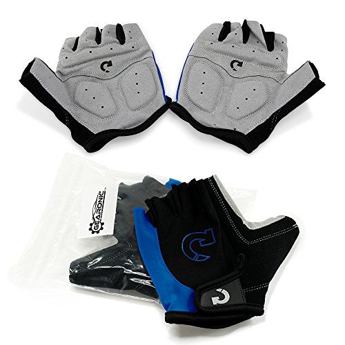 GEARONIC TM Cycling Bike Bicycle Motorcycle Shockproof Foam Padded Outdoor Sports Half Finger Short Gloves - Blue XL