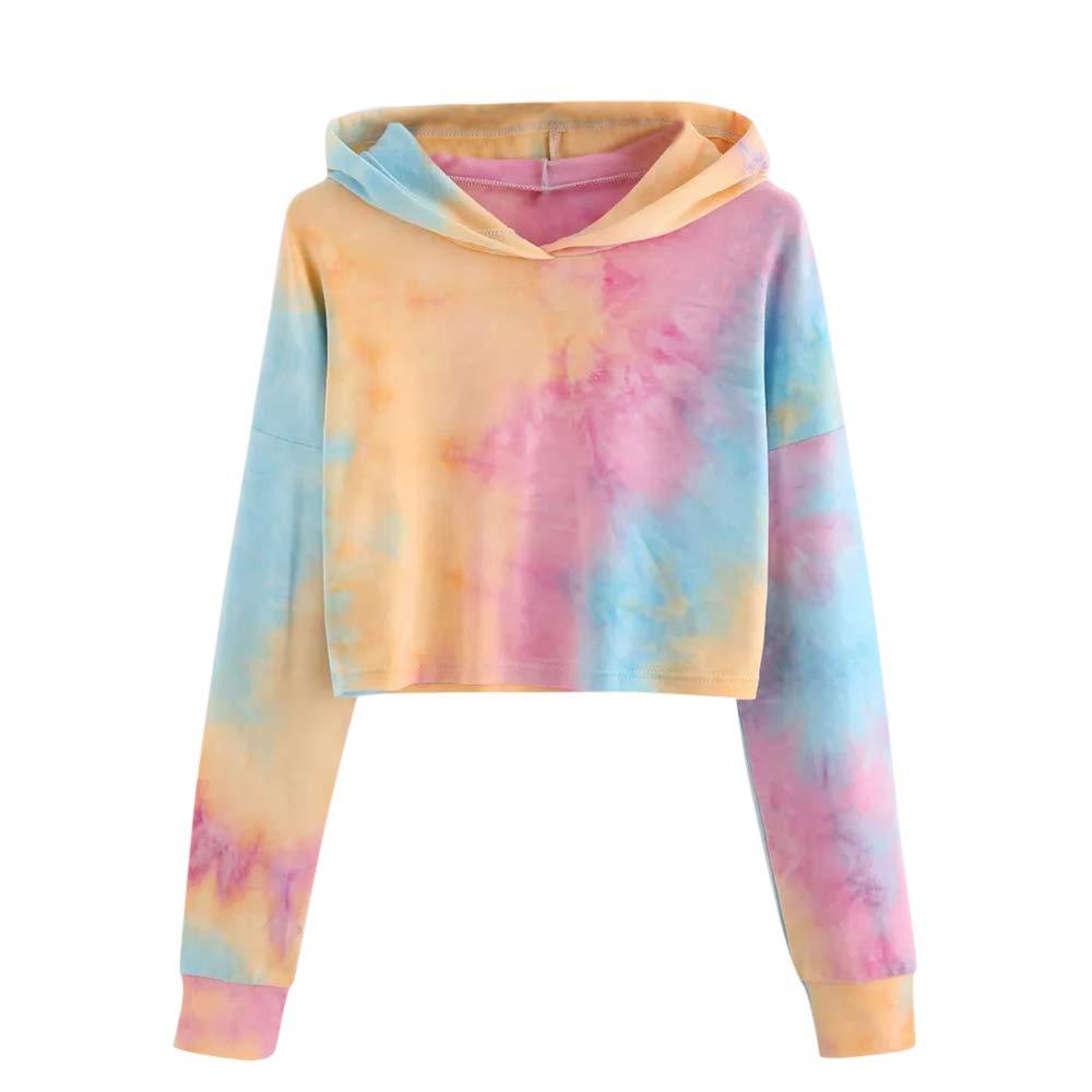Women Teen Girls Tie Dye Print Long Sleeve Pullover Cropped Crop Top Hoodie Sweatshirt Casual Tops Blouse Shirt (Orange, M)