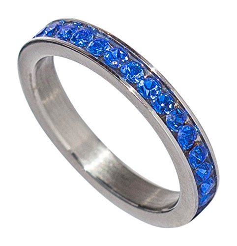 (Birthstone Eternity Ring~September~Stainless Steel~Cubic Zirconia CZ Band~Sapphire~Blue Crystals~Stackable~Mother's Ring~Children's Ring~Women's Jewelry (7))