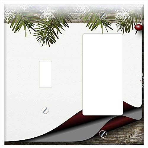 (1-Toggle 1-Rocker/GFCI Combination Wall Plate Cover - Bulletin Board Holly Paper Background Christm)