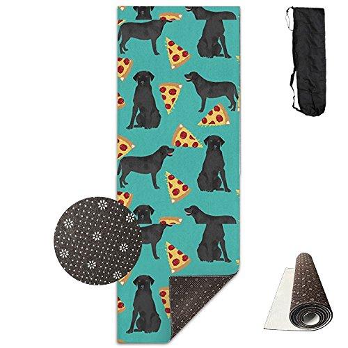 CxiunjUS159 Dog Black Lab Pizza Ultra-durable, Non-slip, Fitness Mat Home Gym Floors - Suitable Foam Yoga Mat Sports, Yoga ()