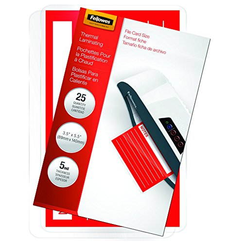 Fellowes Laminating Pouches, Thermal, File Card, 5 Mil, 25 Pack (52008)
