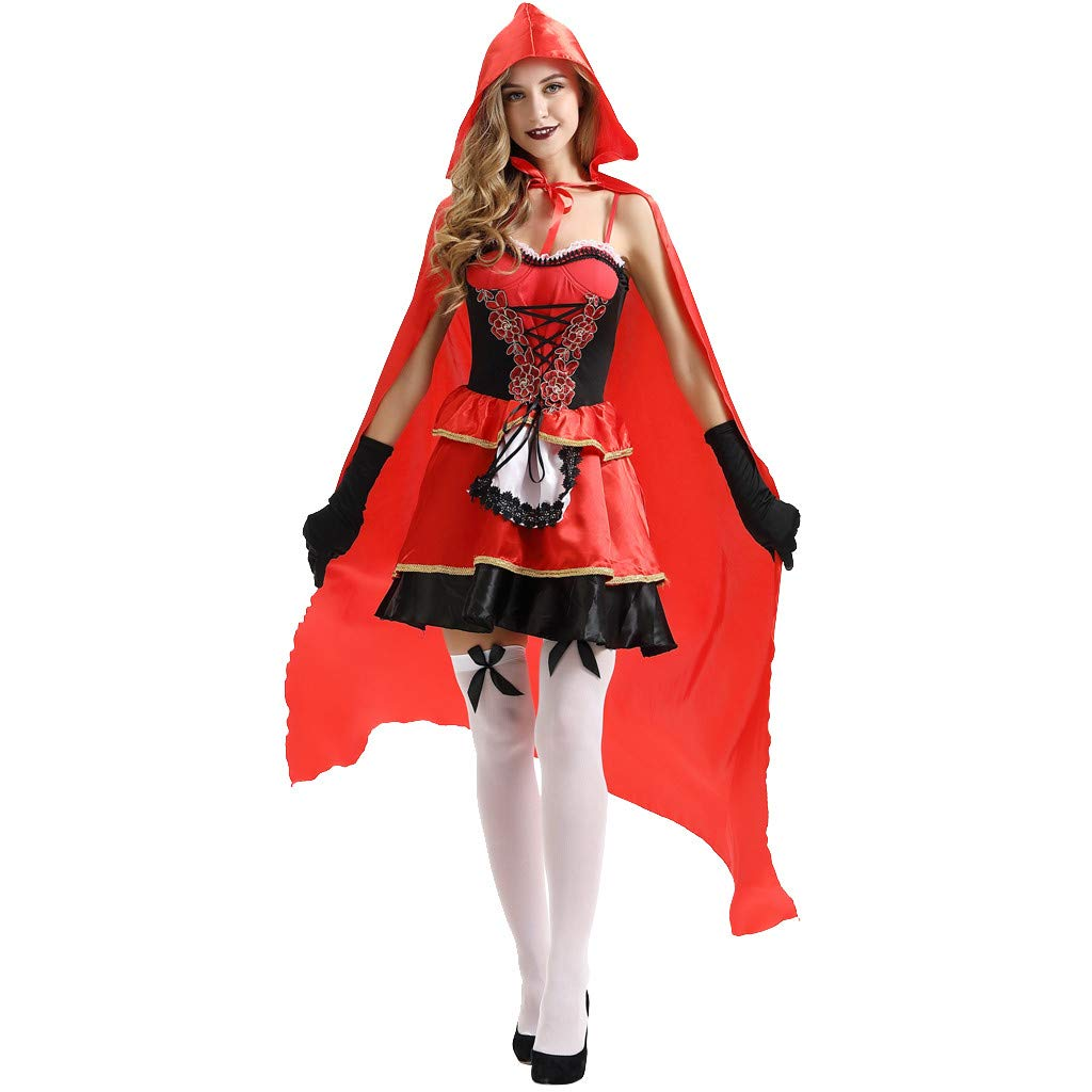Women Faux Leather Punk Gothic Dress Gloves Hooded Lace up Cloak Cape for Halloween Christmas Cosplay Costumes (Red, M) by Jieou