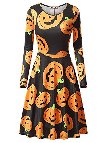 KIRA Midi Dress, Women's Pumpkin Halloween Long Sleeve Round Neck Knee Length Dress 17049-4 XX-Large