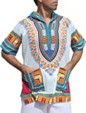 Full Funk Dashiki Light Hoody In White Base Colors Festival Party Shirt Short Sleeve, X-Large, Multi-White Azure Blue