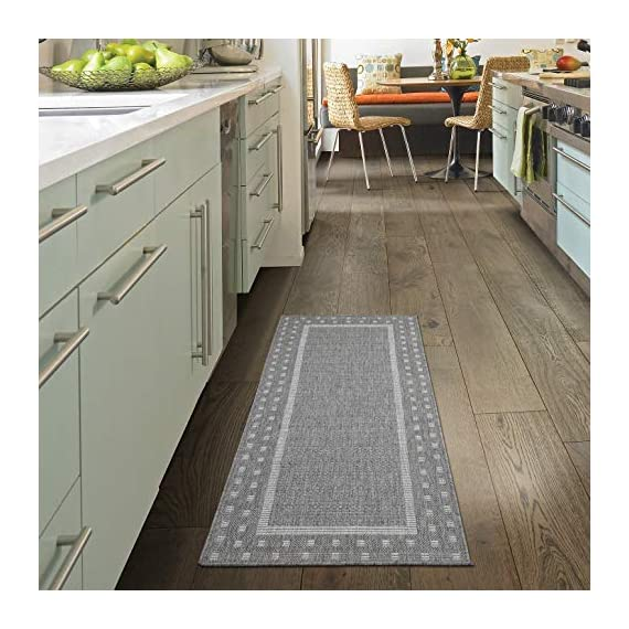 """Ottomanson Jardin Indoor/Outdoor Bordered Runner Rug, Gray, 2'X5', 20"""" x 59"""", Grey - VERSATILE: Robust construction makes it ideal for high-traffic areas indoor or outdoor. DURABLE and LONG LASTING: Power-loomed in Turkey with %100 polypropylene. LOW-PILE HEIGHT is non-shedding and ideal for homes with pets and high-traffic. - runner-rugs, entryway-furniture-decor, entryway-laundry-room - 515RjjKXvzL. SS570  -"""