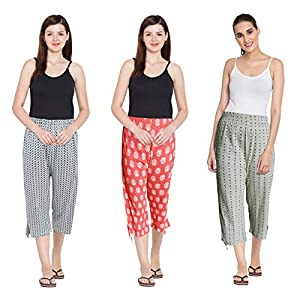 Fflirtygo Cotton Capri for Women Combo Pack of 3, Printed 3/4 Pyjama Prints and Color May Vary (Assorted Capri)