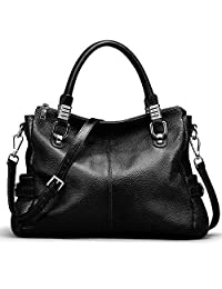 Yaluxe Women's Silver Accent Leather Purse Urban Style Shoulder Bag Black