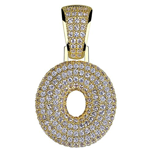 HECHUANG Micropave Simulated Diamond Iced Out Bling Custom Bubble Letters Pendant with Rope Chain (O Gold, - Cubic Rope Zirconia